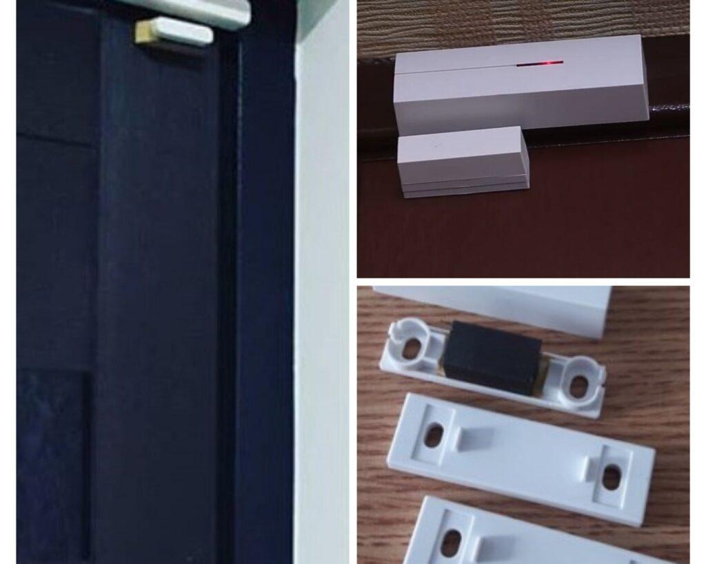 Примеры неэстетичных установок беспроводных датчиков открытия на металлических темных дверях, используя дополнительные пластины под магнит