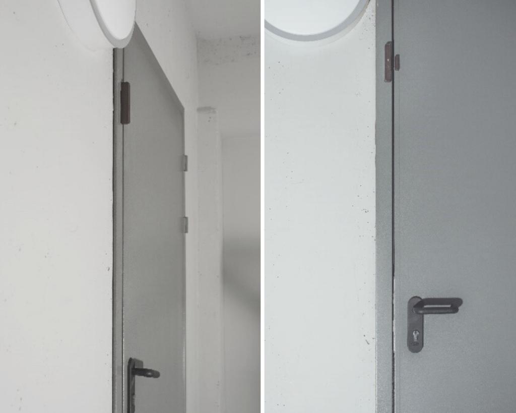 Пример правильной установки беспроводного извещателя EWD3 на металлических дверях